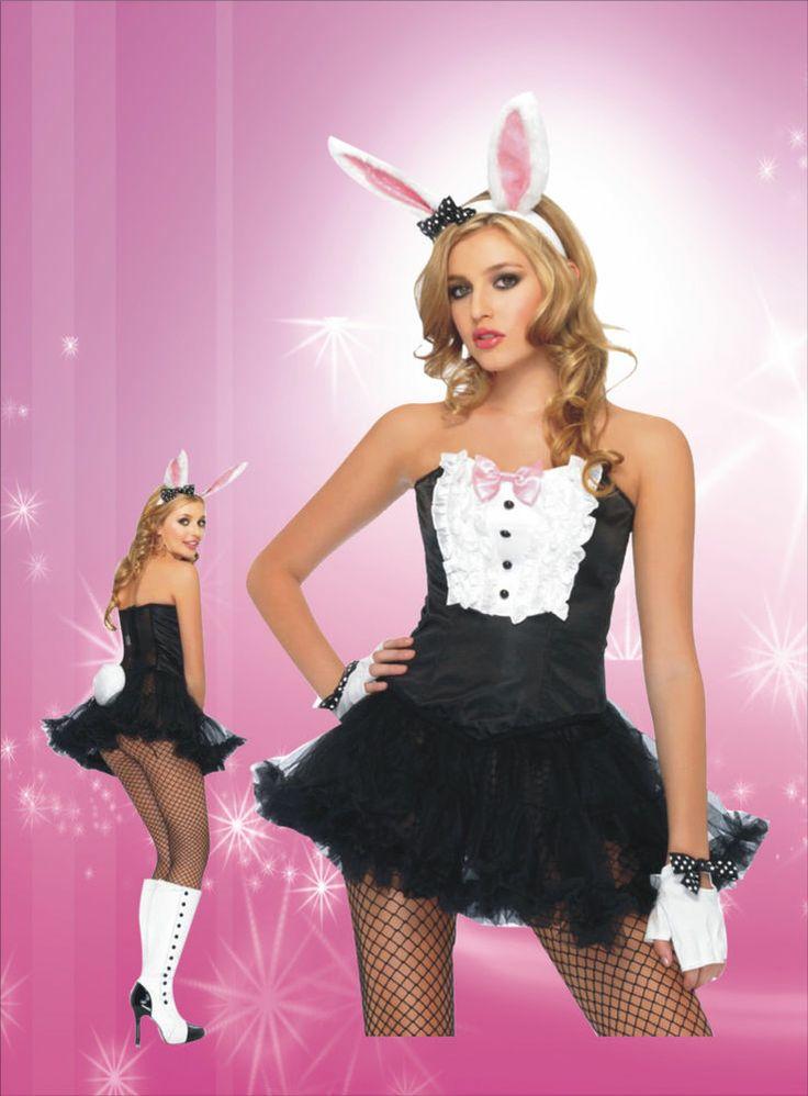 Sexy Women's Fancy Party Tuxedo Tutu Dress Bunny Costume  Black White Pink