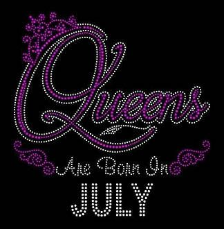 Queens Are Born in July  9.25x9 Rhinestone Bling