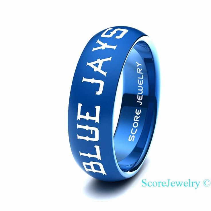 Blue Tungsten Band Ring Mens Womens Ring MLB Baseball Toronto Blue Jays Ring Birthday Anniversary Gift