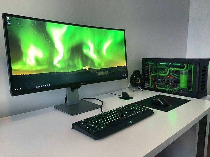 812 best gaming pc set ups images on pinterest desk setup gaming setup and pc setup. Black Bedroom Furniture Sets. Home Design Ideas