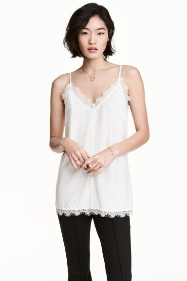 Strappy top with lace - White - Ladies | H&M CA 1