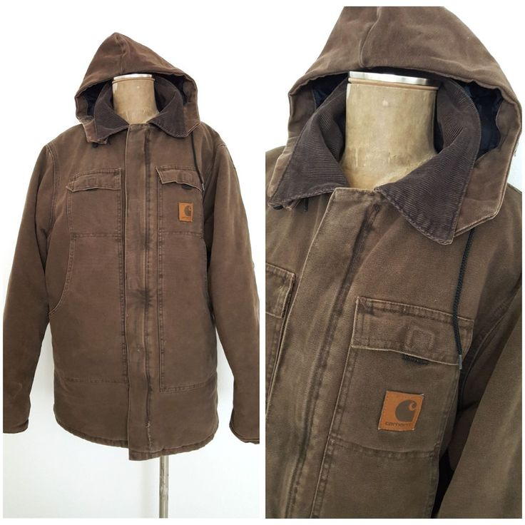 Carhartt Hoodie Jacket Size Large Tall Canvas Brown Work AS IS #Carhartt #BasicCoat