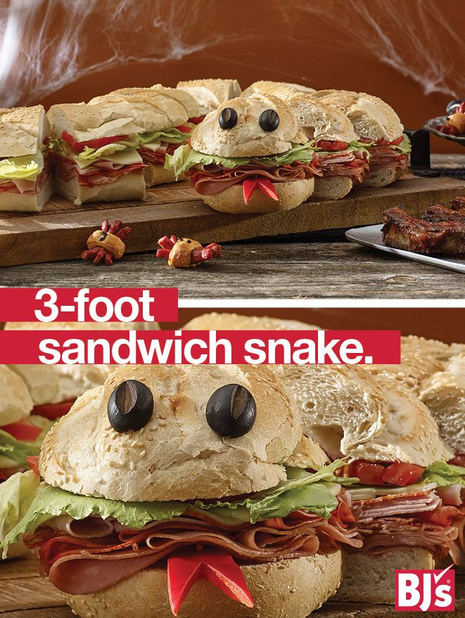 Semi-Homemade Halloween Food: Need no-cook party snacks? Order a 3-foot sub from BJ's and give it a creepy makeover with these tips. BJs.com/partyplanning