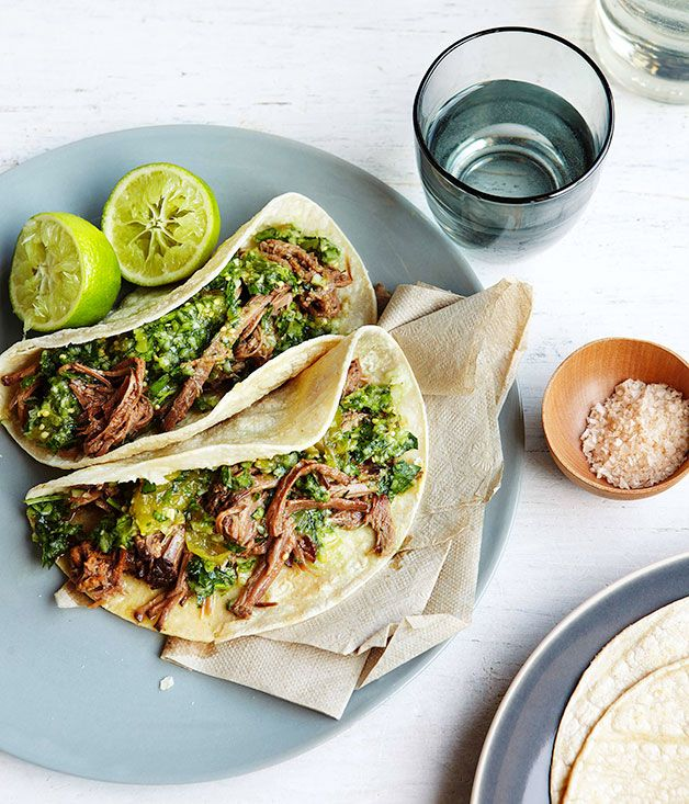 Australian Gourmet Traveller recipe for Brisket tortillas with green chilli, tomatillo and cucumber salsa