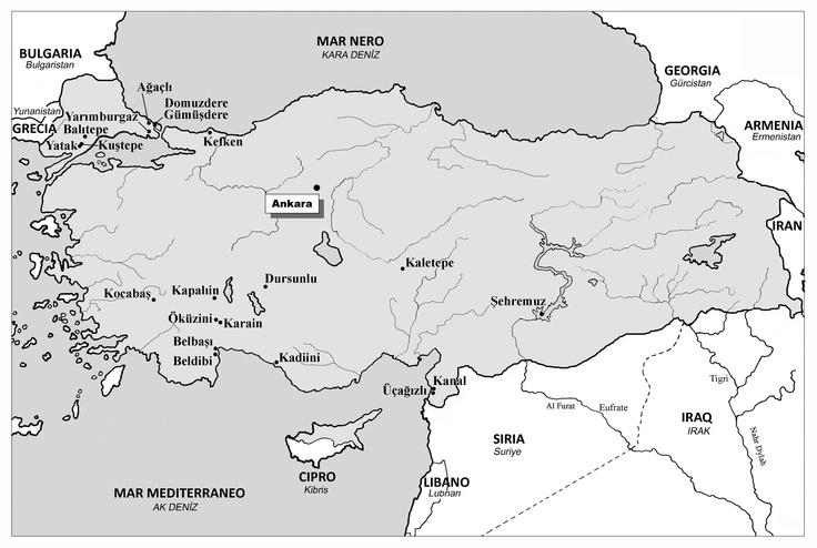 I principali siti del Paleolitico in Turchia  (base cartografica R. Bixio - elaborazione A. De Pascale)
