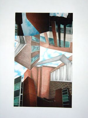 The Art Classroom: Architectural Drawing w/ collage