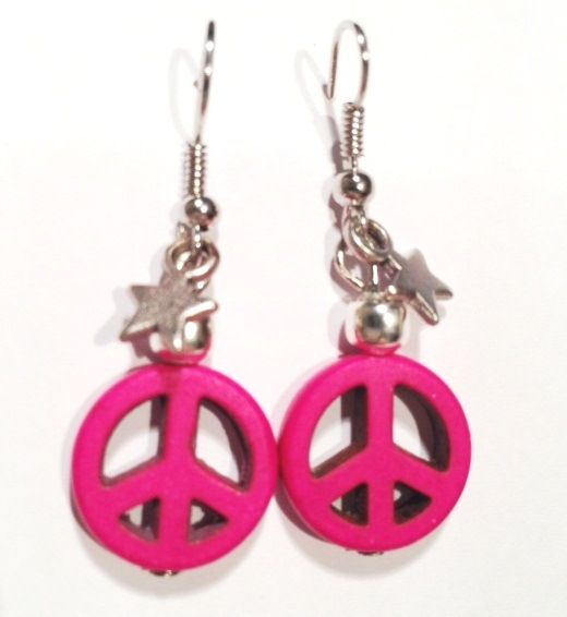 Pink Peace Earrings