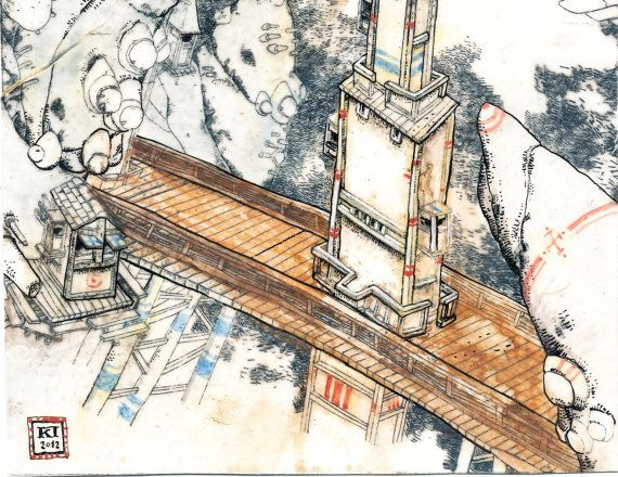 Watchtower and bridge  small study for the by WhiteIslandWorks, €290.00