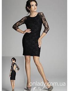 Чёрное кружевное платье с открытой спиной