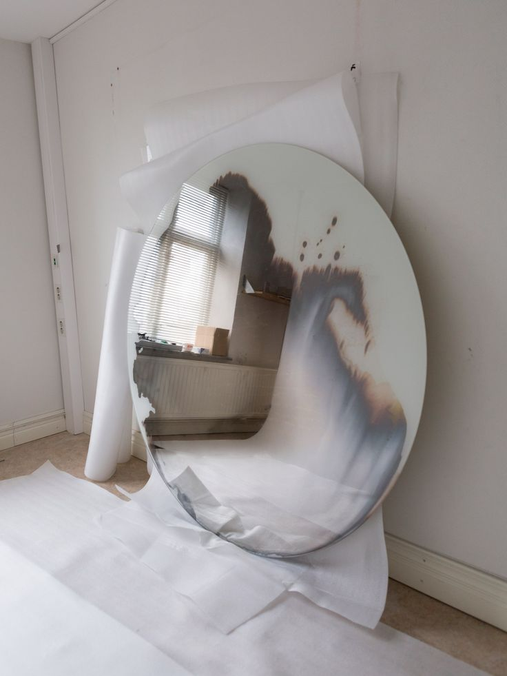 These silver mirrors are each created by Swedish designer Jenny Nordberg in less than five minutes, using a traditional process involving chemical-infused liquid.