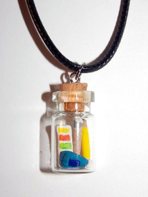 Bottled Art Supplies Necklace by SplatterPalette.