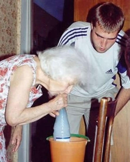 grandmas and gravity bongs. Go grandma!!