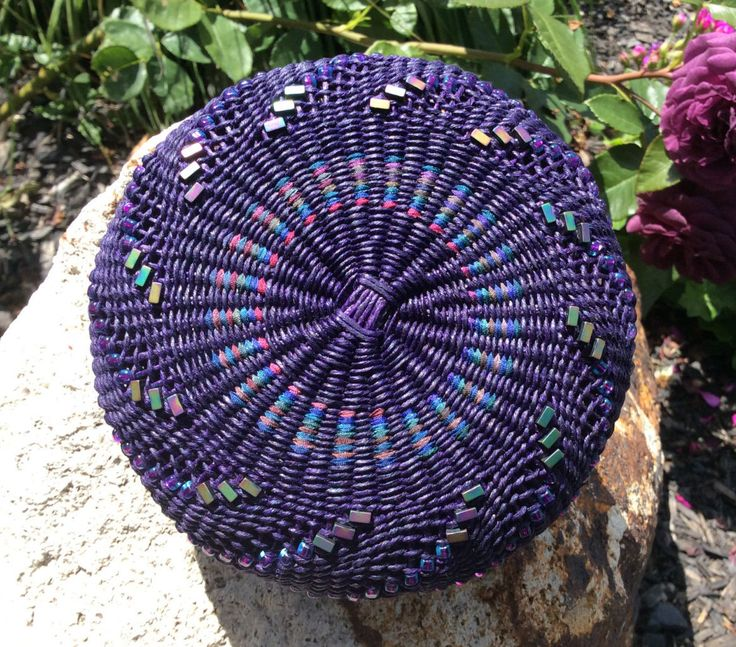 Handwoven Basket, Twined Basket, Waxed Linen Basket, Spiraling Beads by Twisted Spokes by TwistedSpokes on Etsy https://www.etsy.com/listing/255092445/handwoven-basket-twined-basket-waxed