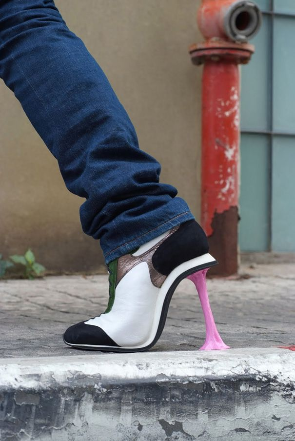 Heels designed to look like you have gum stuck to your shoe... HAHA!!