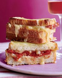 Dry Rosé: For rich, cheesy dishes    Some cheeses go better with white wine, some with red; yet almost all pair well with dry rosé, which has the acidity of white wine and the fruit character of red. For an indulgent cheese dish, try these Triple-Decker Baked Italian Cheese Sandwiches: Food Recipes, Italian Cheese, Triple Decker Baked, Cheese Sandwiches, White Wine, Sandwich Recipes, Grilled Cheeses