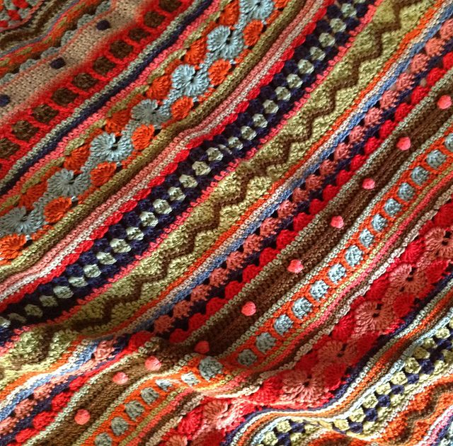 Inspiration - Ravelry: Project Gallery for Mixed Stitch Stripey Blanket pattern by Julie Harrison