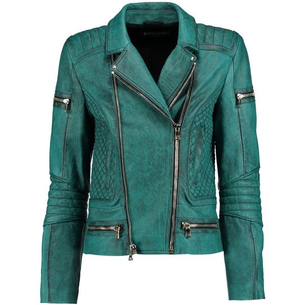 Balmain Washed-leather biker jacket ($1,859) ❤ liked on Polyvore featuring outerwear, jackets, petrol, quilted moto jacket, quilted leather jacket, padded motorcycle jacket, biker jacket e real leather jacket