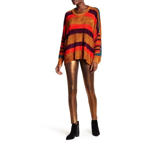 Free People Shine Girl Leggings ($30) ❤ liked on Polyvore featuring pants, leggings, bronze, pull on pants, white pants, white shiny leggings, legging pants and shining leggings
