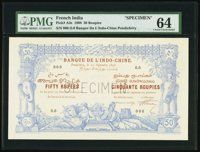 French India Banque de l'Indo-Chine 50 Rupees 10.9.1898 Pick A3s Specimen   Heritage Auctions Rare Currency