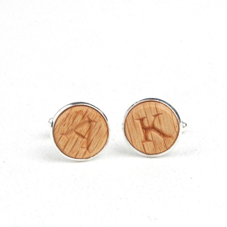Custom carved Cufflinks - Your Initial / Red Oak by AhnsCreations on Etsy