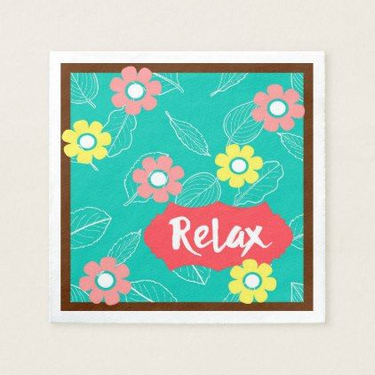 Teal Coral Pink Relax Spring Floral Paper Napkin - retro kitchen gifts vintage custom diy cyo personalize