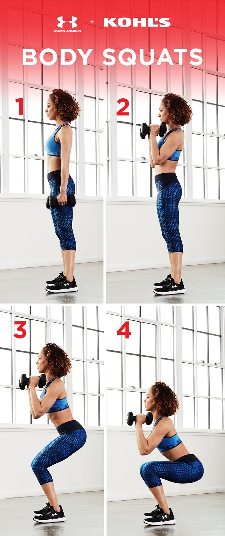 Try this exercise on the next leg day and add weights for a full-body workout. These body squats will work your arms, legs and backside if they're done slowly and with correct form (remember: your knees should not go past your feet!). Get fit with Under Armour and Kohl's.