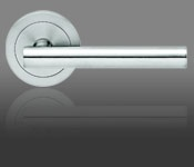 Easy to use, very modern, consistent with bath fixtures.  Not really Eichler though.  Modern Door Handles - Stainless Steel Door Handles - Contemporary Designer Door Knobs   Stainless Steel Stuff