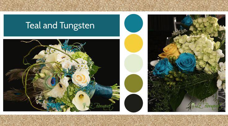 Teal & Tungsten style board by Le Bouquet Weddings | Le Bouquet St-Laurent Florist