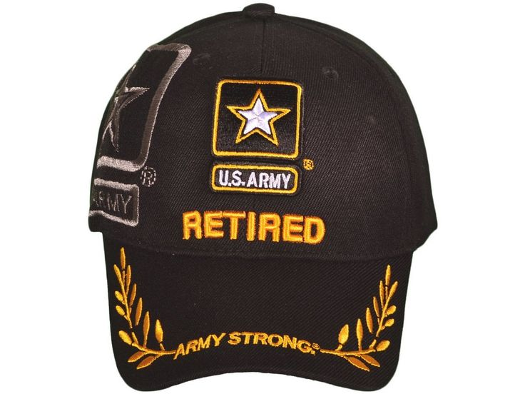 "US Army Logo w/Shadow ""RETIRED"" Baseball Hat (Black)"