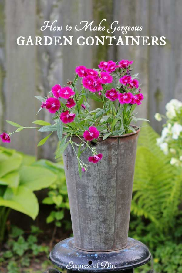 You don't have to spend a lot on annuals to have gorgeous garden containers. Check out these ideas for using unique repurposed containers instead of common planters from a big box store. It's frugal and transforms your garden—no matter where you grow. #sponsored