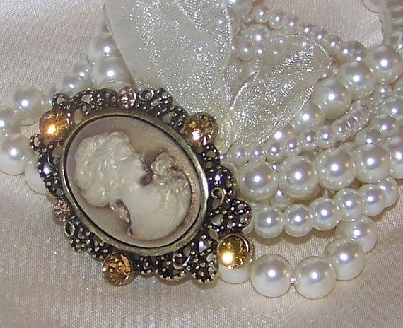 Wedding Bridal VintageInspired Pearl and Cameo by sugarplumcottage,