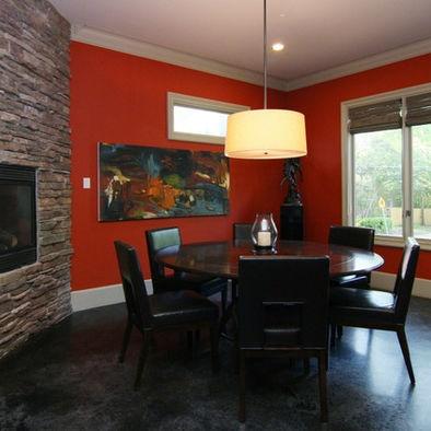 Black Floor Slate Fireplace Red Walls Home Decor