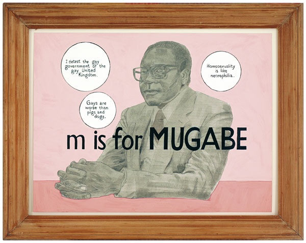 Anton Kannemeyer (b. 1967)  Alphabet of Democracy: M is for Mugabe      2005-6  27 pieces  Mixed media on paper, framed  Various dimensions