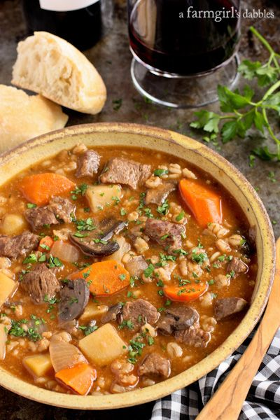 Slow Cooker Beef and Barley Stew from afarmgirlsdabbles.com