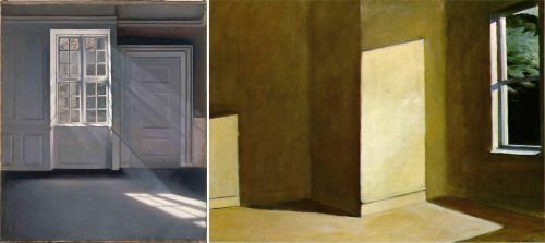 Solda Vilhelm Hammershøi, Sunlight on the Floor, 1900. Sağda Edward Hopper, Sun in an Empty Room, 1963.