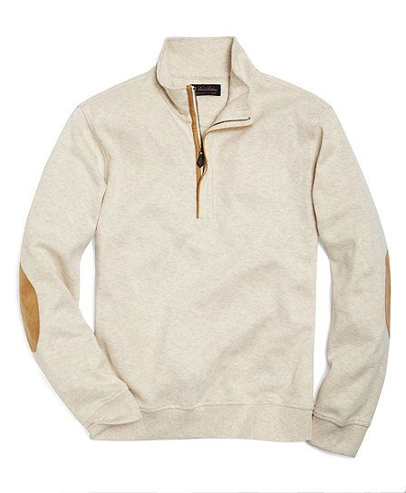 Oatmeal Heather pullover with leather elbow patches