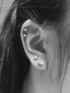 Double cartilage helix piercing double lobe piercing cute stud diamond