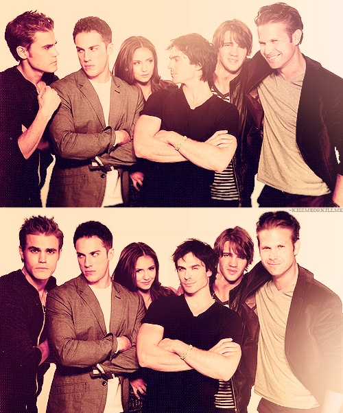 Vampire Diaries cast. Michael Trevino's face kills me. It doesn't move. haha.