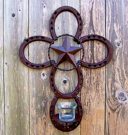 """Buy Texas Home Decor Western Style Design Historical Maps Flags Art...Definitely the BEST idea I have seen for commemorating a beloved horse...Take their old shoes and make one of these """"crosses.""""  No need for all the froufrou accoutrements...Just use the horse's old shoes.  I love this!"""