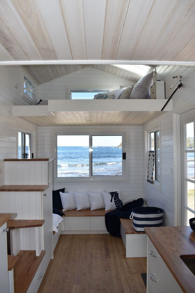 The Living Room Has Built In Bench Seating With Storage Underneath Plus There Is Extra Sto Tiny House Interior Design Tiny House Living Room Small Room Design