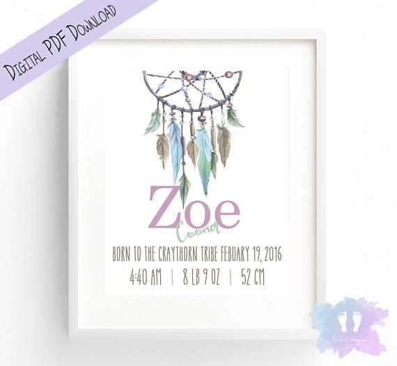 Girl Tribe DreamCatcher Birth Announcement Wall Art  Birth