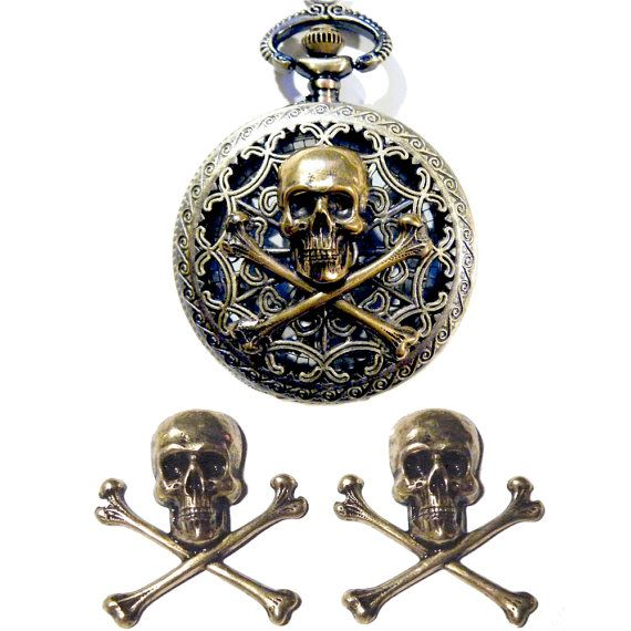 Set Steampunk Pocket Watch Skull Gold Brass by tempusfugit on Etsy