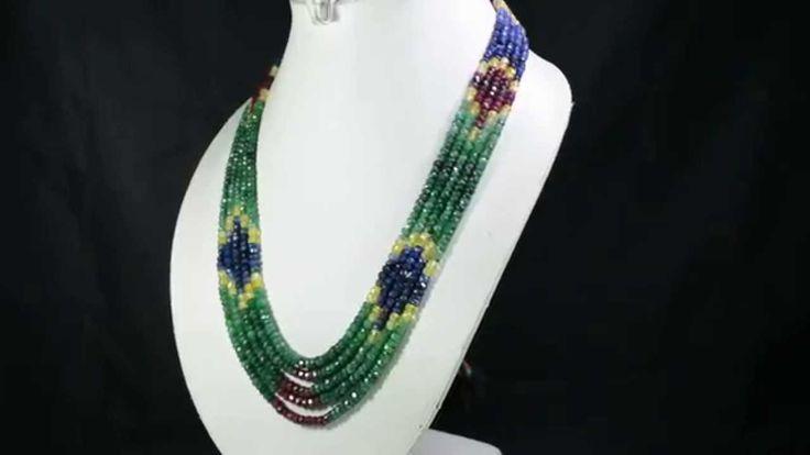 5 Strands Natural Ruby Emerald Sapphire 438ct Multi Row Gemstone Beads N...