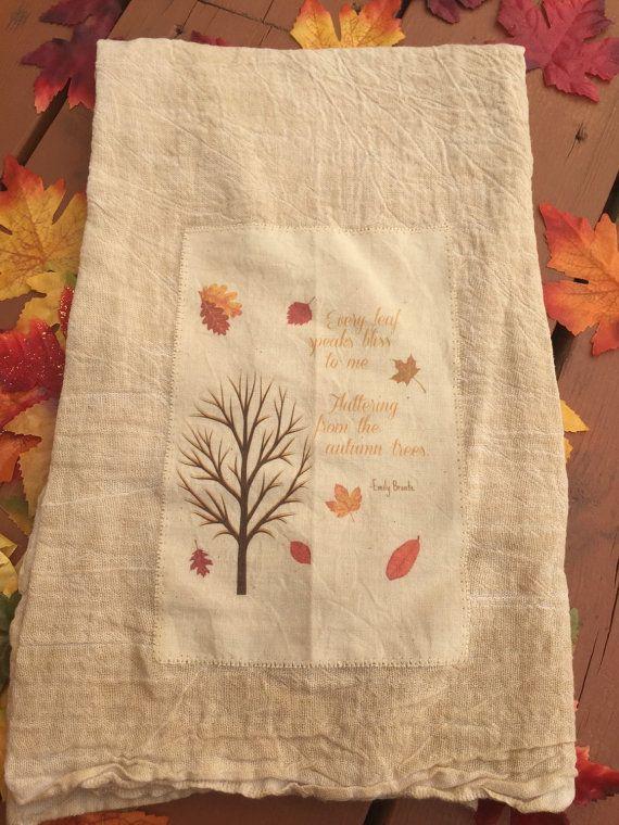 Toalla de té de saco de harina otoño / toalla de cocina