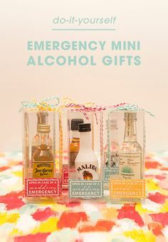 """Learn how to make the most adorable """"open in case of emergency"""" mini-alcohol gifts! Free printable labels!"""