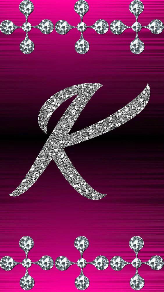 K By Gizzzi Flower Drawing Fancy Letters Sparkle Wallpaper
