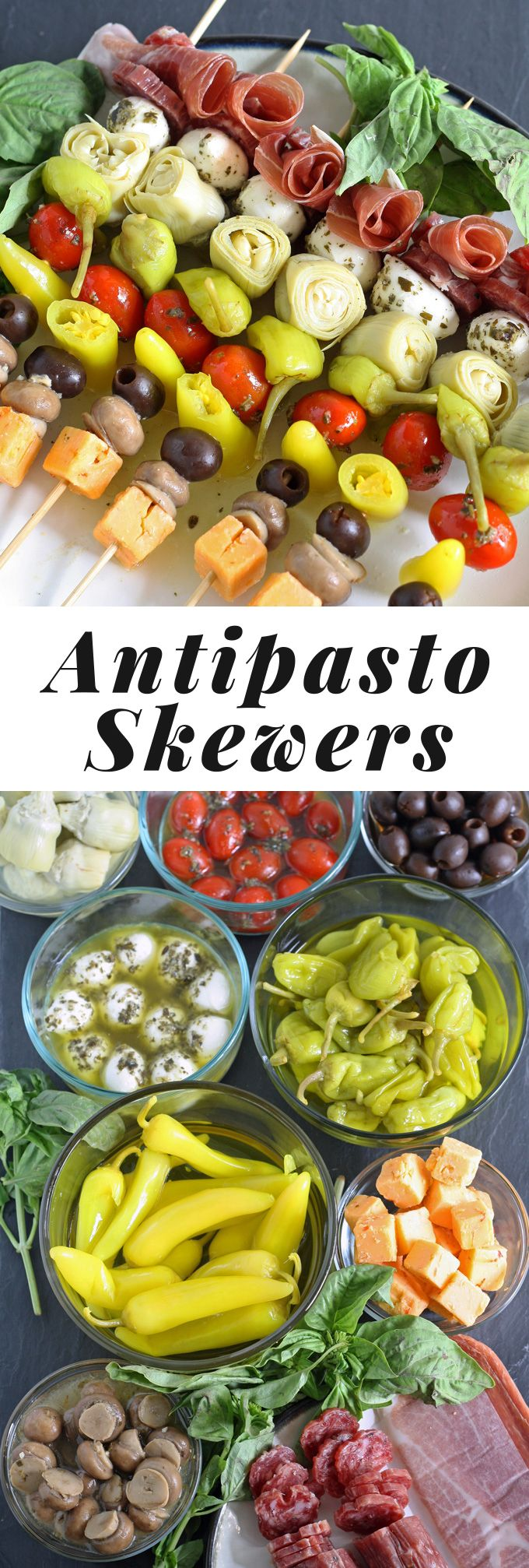 These antipasto skewers are the perfect lazy day appetizer. They can easily be made from store bought pickled items or from your pantry stash! Easy to eat and very delicious! | honeyandbirch.com