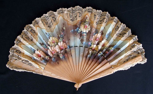 >y< hand carved and painted hand fan with lace