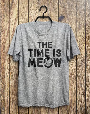 The Time Is MEOW Kitten Cat T-Shirt  - 1