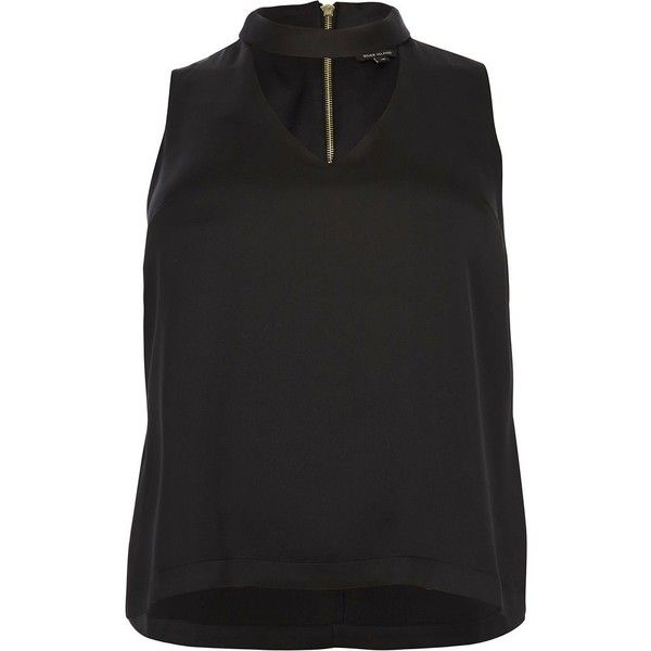 River Island Plus black choker top (430 NOK) ❤ liked on Polyvore featuring tops, black, cami / sleeveless tops, women, camisole tank top, cami tank tops, plus size tank tops, camisole tops and womens plus size tank tops
